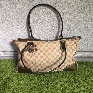 Authentic gucci handbag light brown and gold